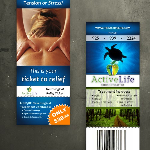 Neurological  Relief Ticket  needs a new postcard or flyer