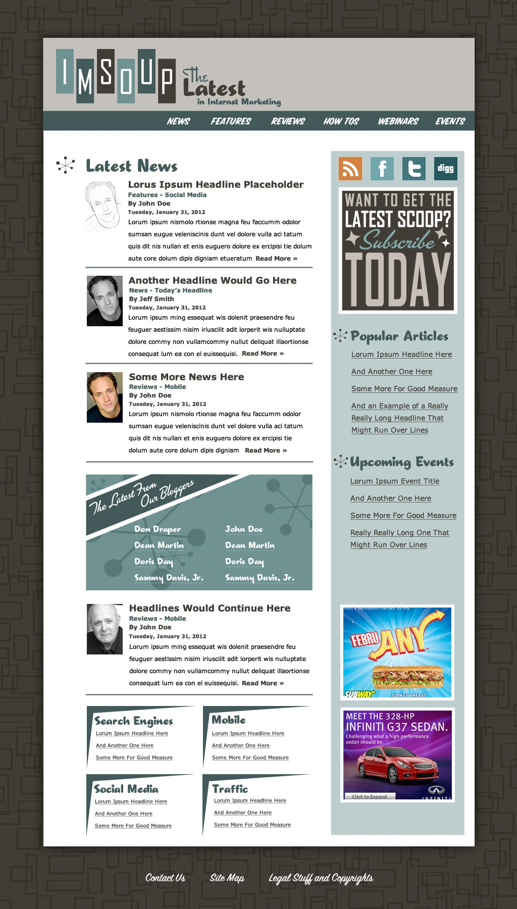 1960's Retro Style Web Design for Internet Marketing News Site