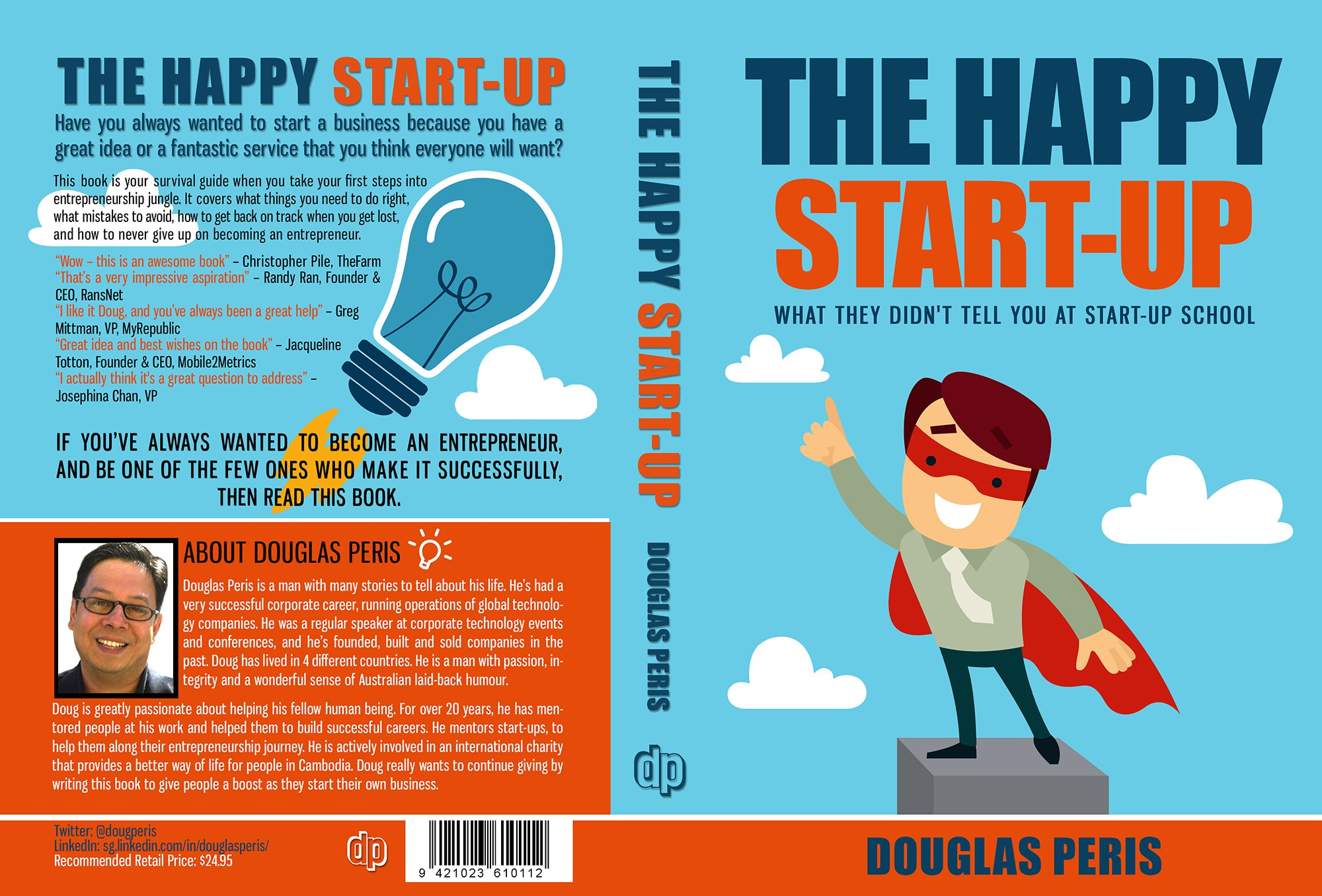 """Create an out-of-this world book cover for my book """"The Happy Start-Up""""."""