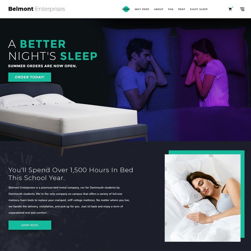Bold concept for Mattress Ecommerce.