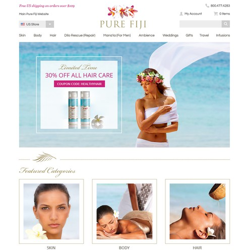 Clean Responsive Website for Pure Fiji