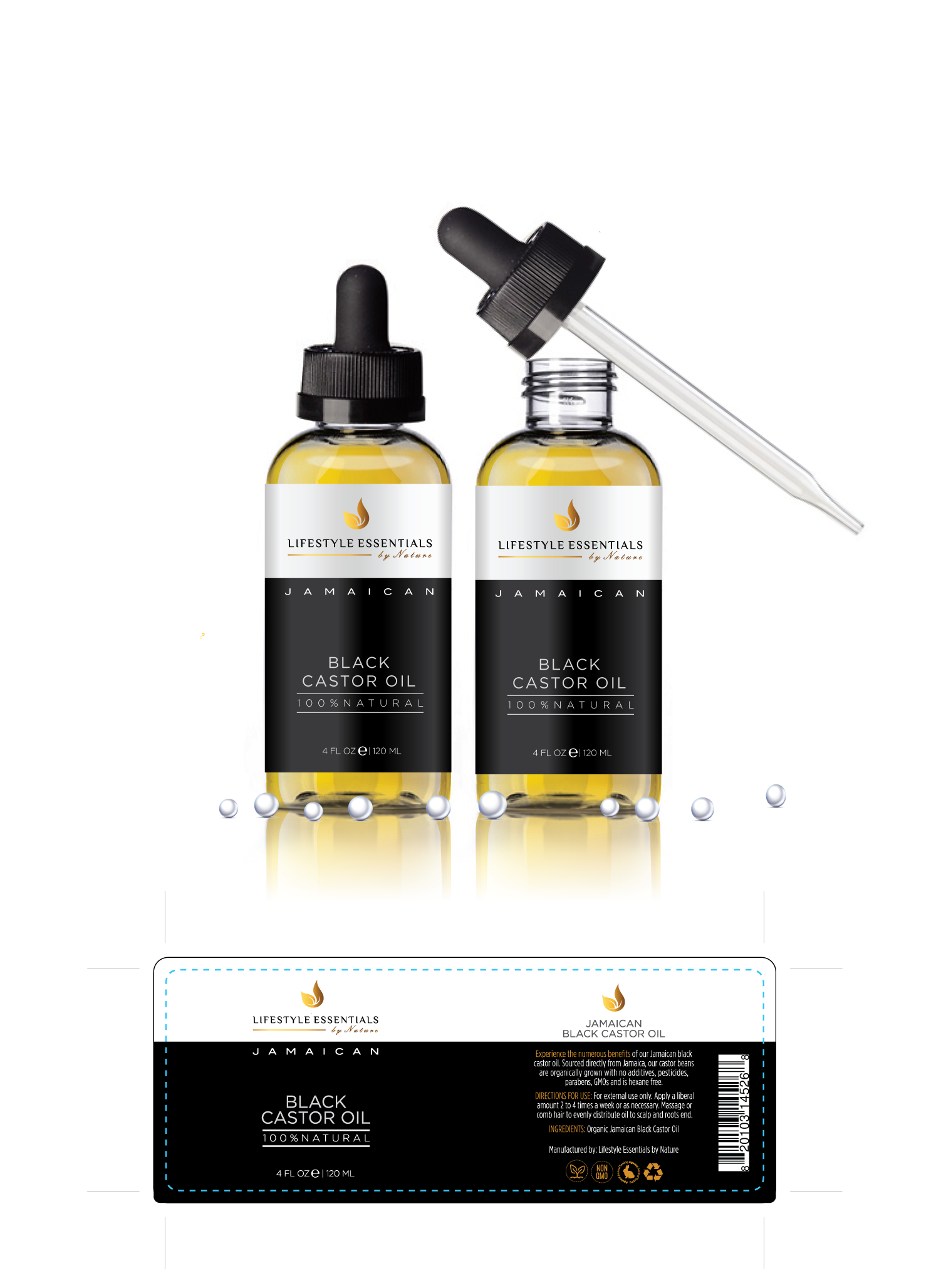 Product label for a jamaican black castor oil bottle