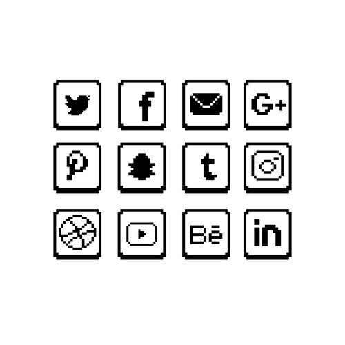 Black and White Pixel Icons