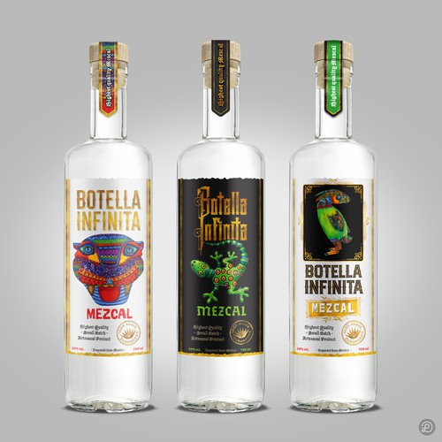 Botella Infinita mezcal labels design