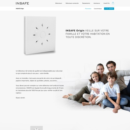 Product page for a new smoke detector brand