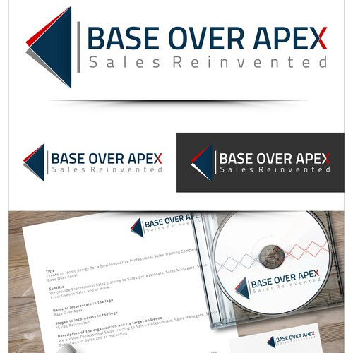 Create an iconic design for a New Innovative Professional Sales Training Company, Base Over Apex!