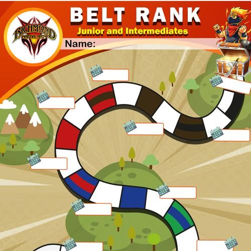 Design a martial arts roadmap using belt colours.