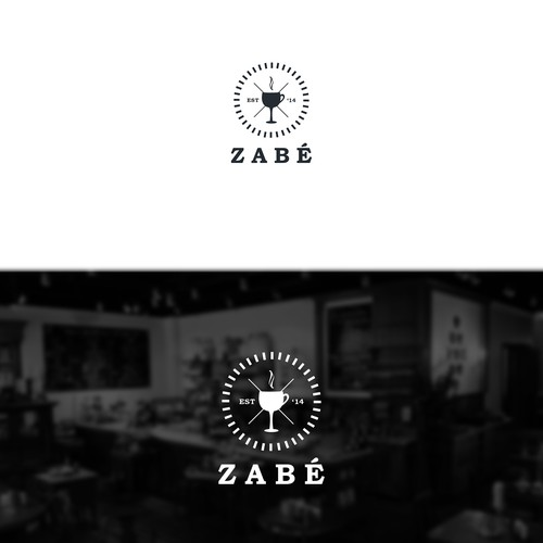 Hipster Coffee Shop Wine Bar Logo Design