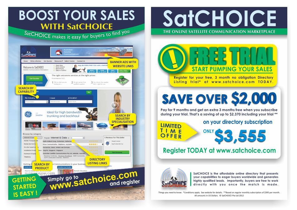 Create an eye catching A5 Flyer for SatCHOICE