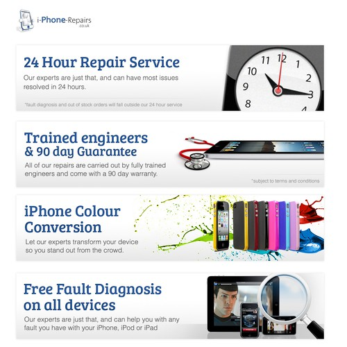 New banner ad wanted for iPhone Repairs
