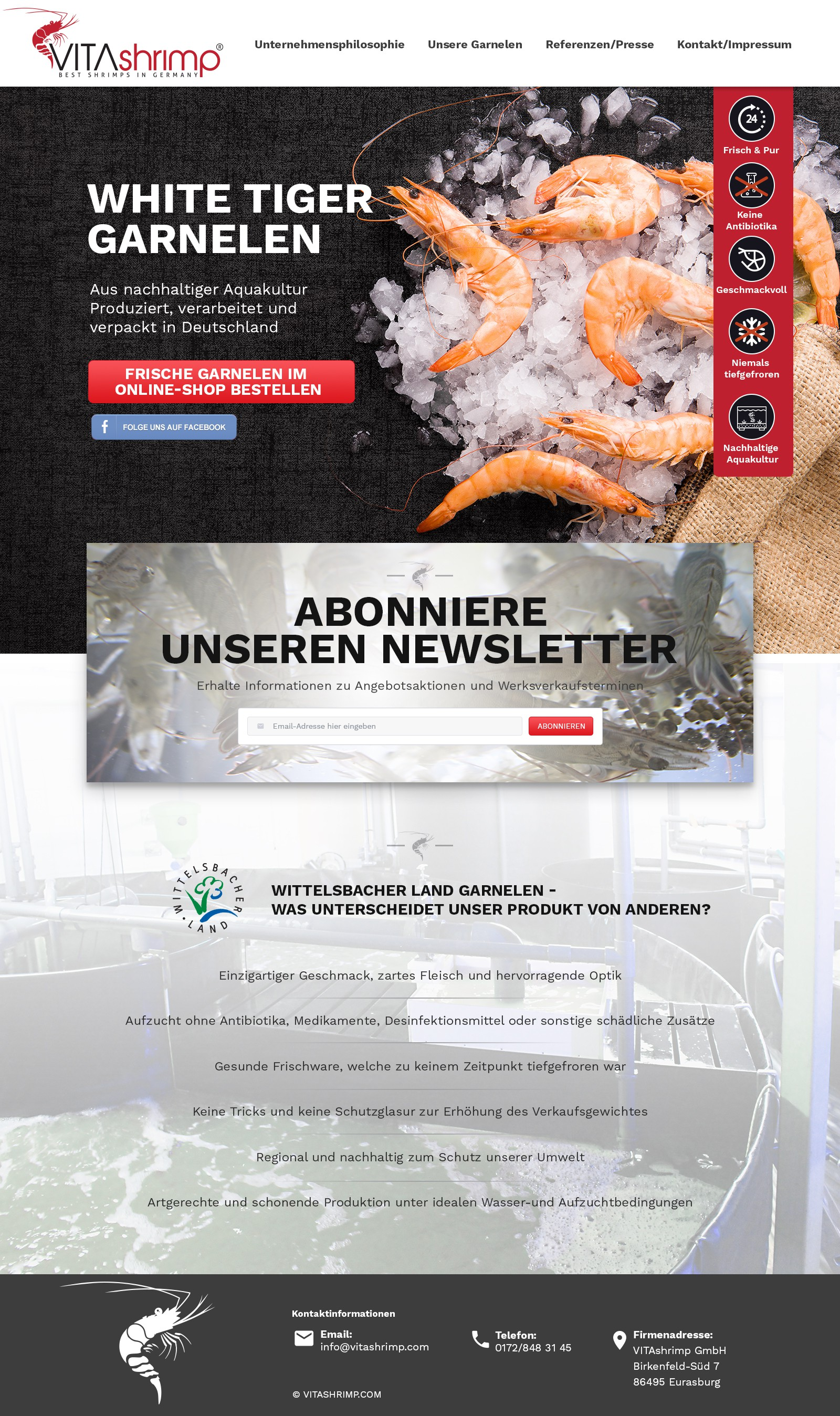 Landing page for Shrimp producing Company