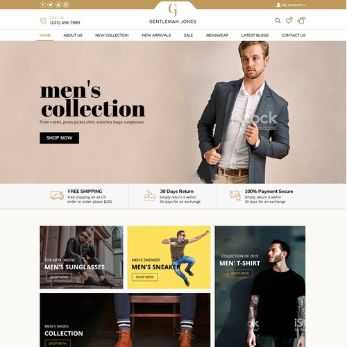 High end design for premium ecommerce menswear store