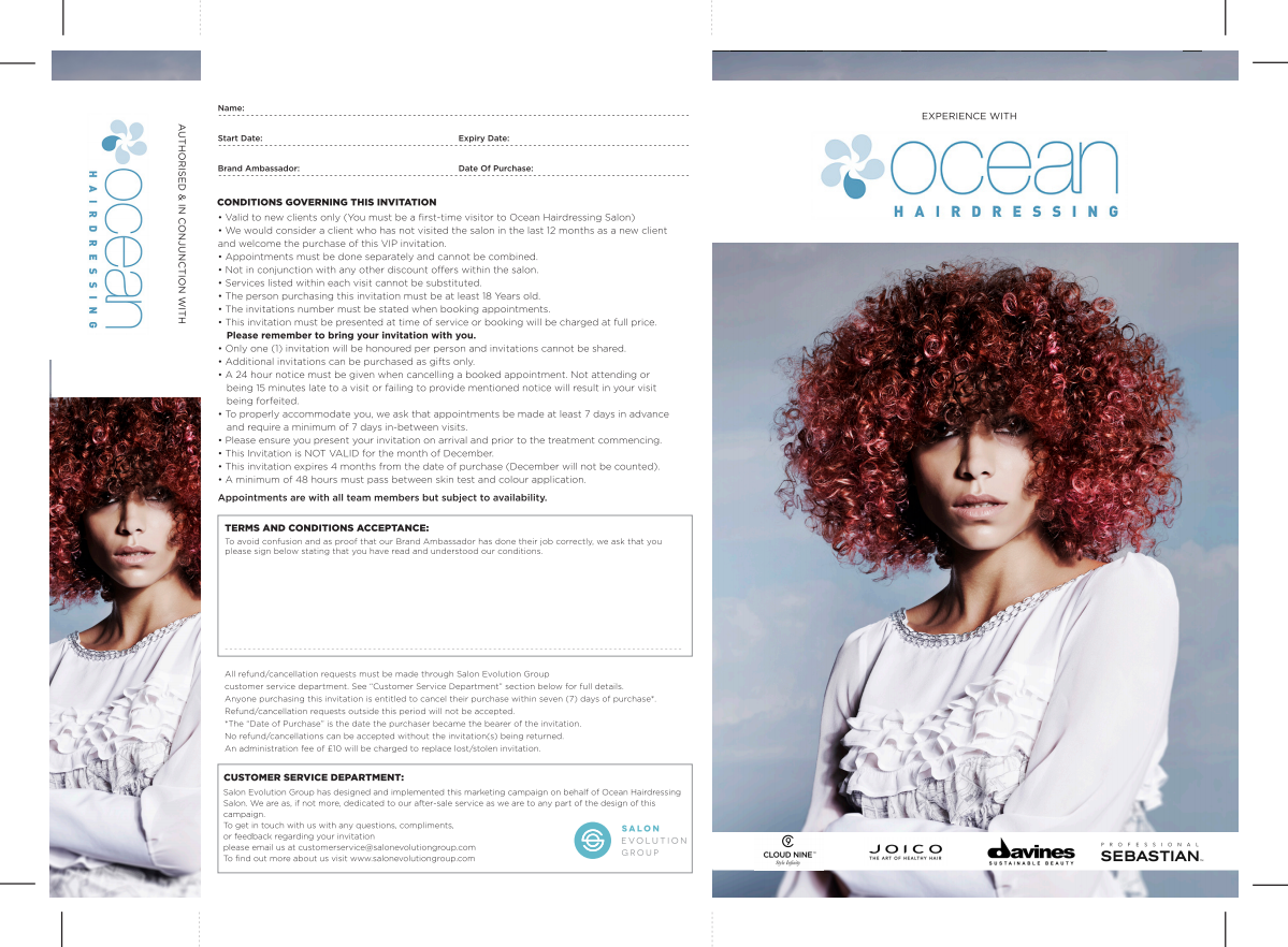 Ocean Hairdressing Salon Invitation