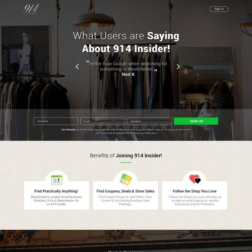 Landing Page design for 914 Insider
