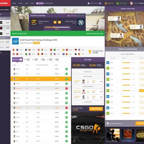 UI/UX Design for Fantasy Esport Betting Site