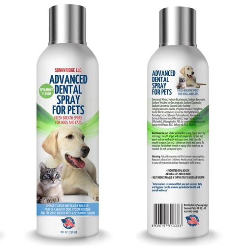 Label design for dental spray