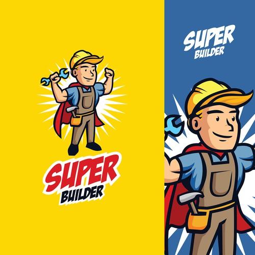 Cartoon 40's Mascot Super Builder and Repairman Logo