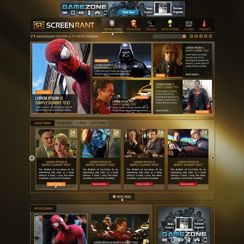 Redesign ScreenRant.com's Home Page.