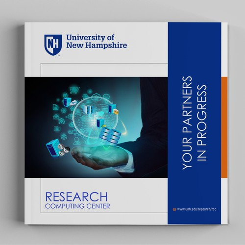 University research computing center needs front/back cover design for corporate engagement booklet