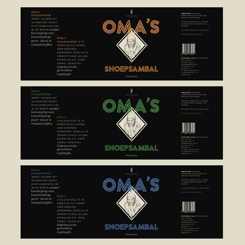 Label design for Oma's Snoepsambal