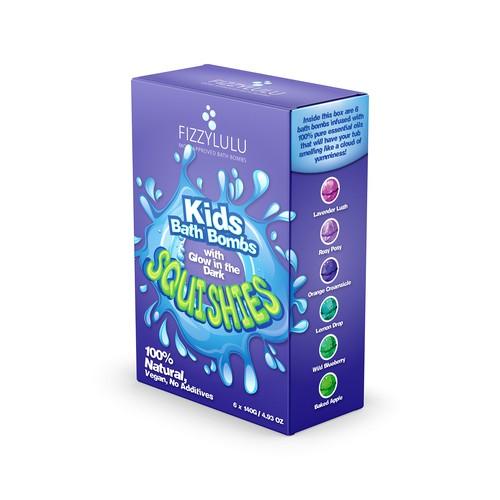 Kids bath bomb box packaging