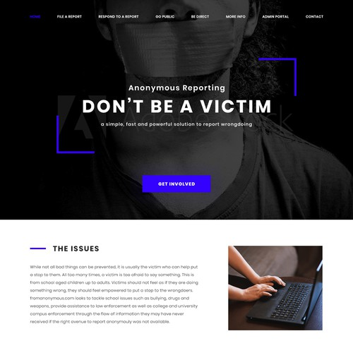 Professional Page for a Anonymous Reporting System