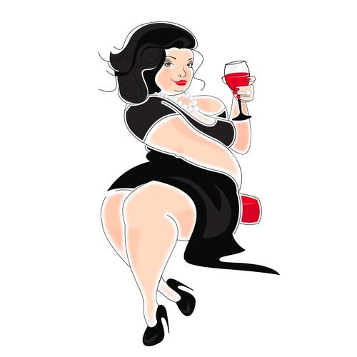 """Big Lady"" wine label illustration"