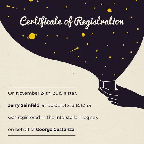 Interstellar Registry Certificate