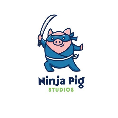 Cool, funky logo for Ninja Pig Studio
