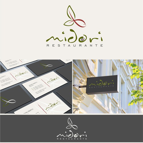 logo and business card for Midori (green in japanese)