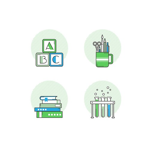 """Fun Icon set """"back to school"""" for Analytics Academy"""