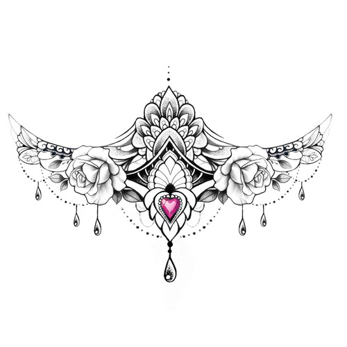 Sternum Lace Tattoo