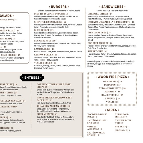 Clean, easy to use restaurant menu