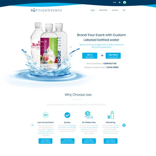 Website concept for bottled water for events
