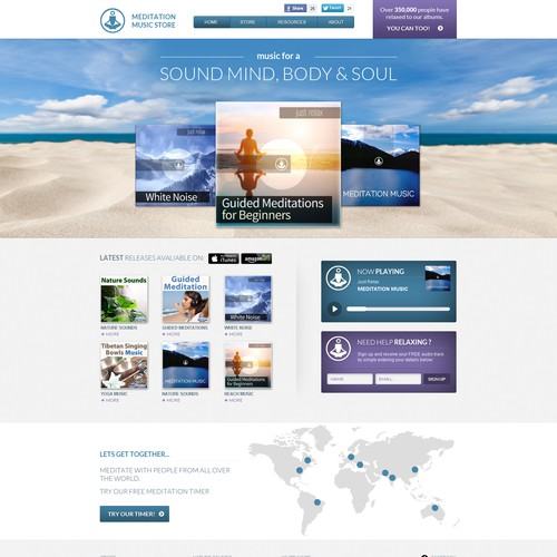 MeditationMusic.net new landing page