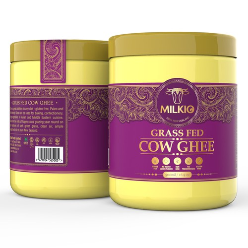 Grass Fed Cow Ghee Super Food Label