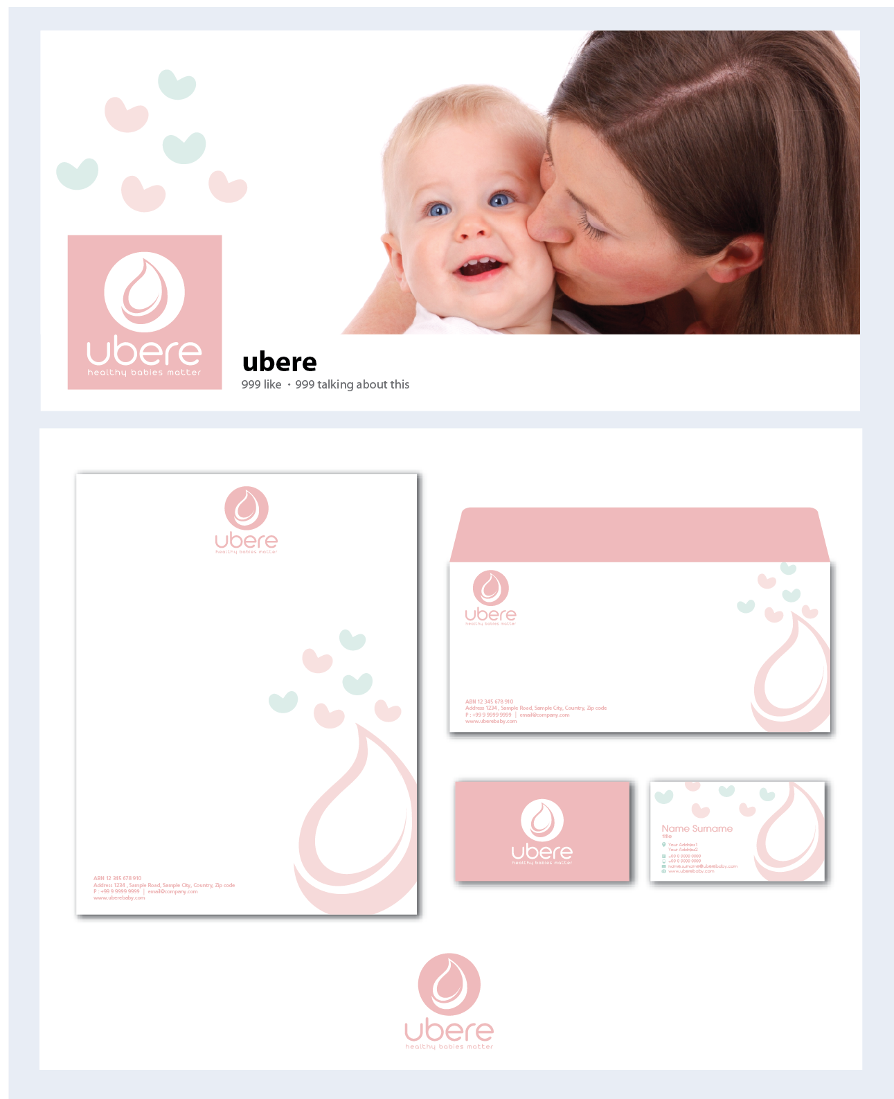 Brand identity pack: New baby merchandise company, focusing on breastfeeding related products