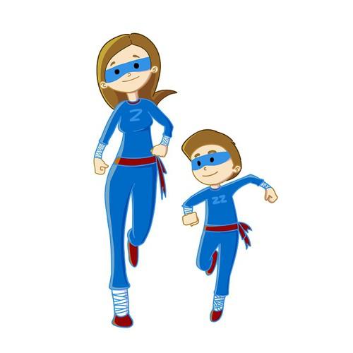 Create 2 Ninja Super Hero cartoon characters for a kids story