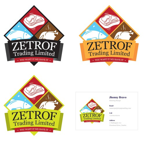 logo and business card for Zetrof Trading Limited