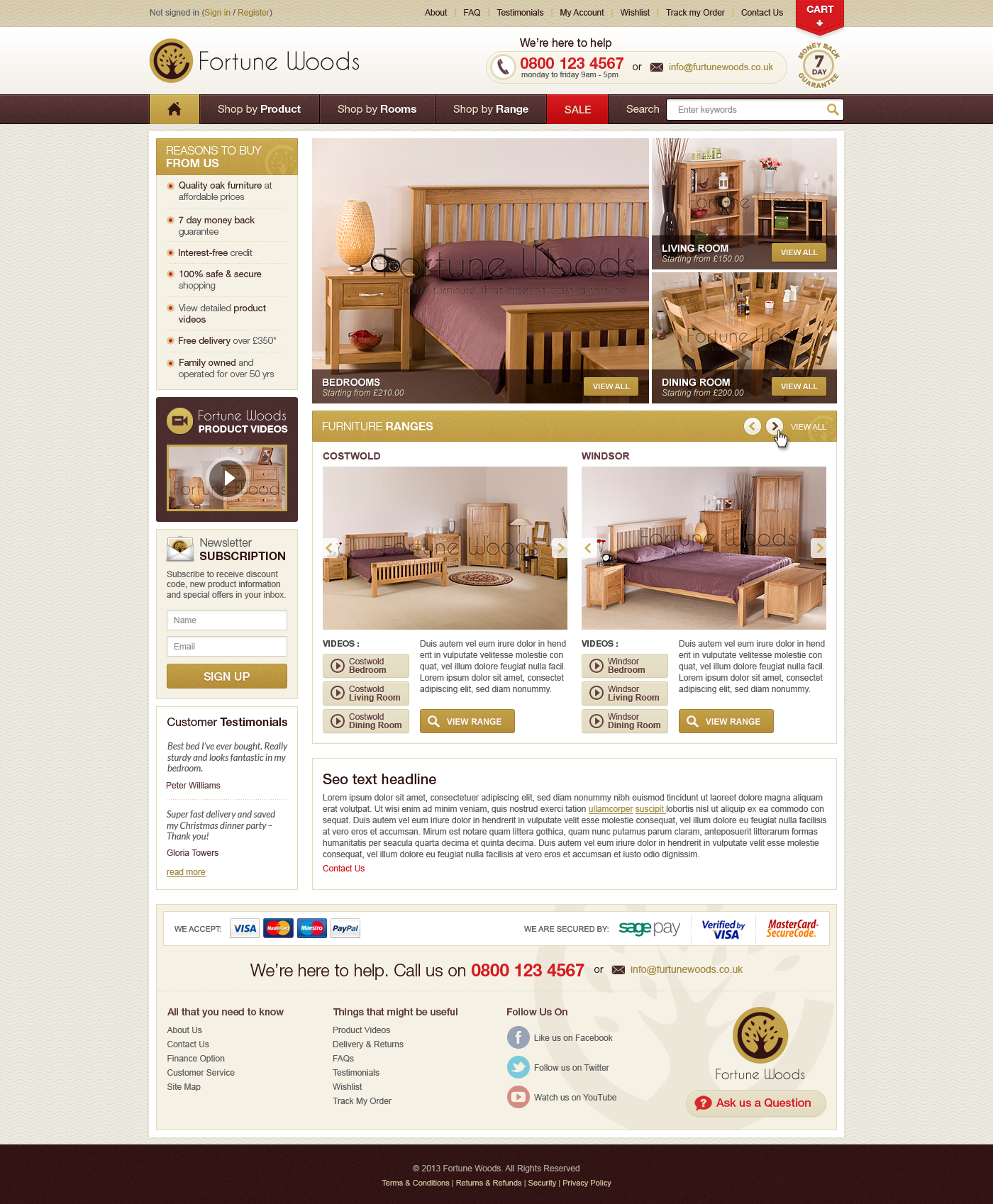 *Guaranteed* Build a fantastic design for our Oak Furniture website