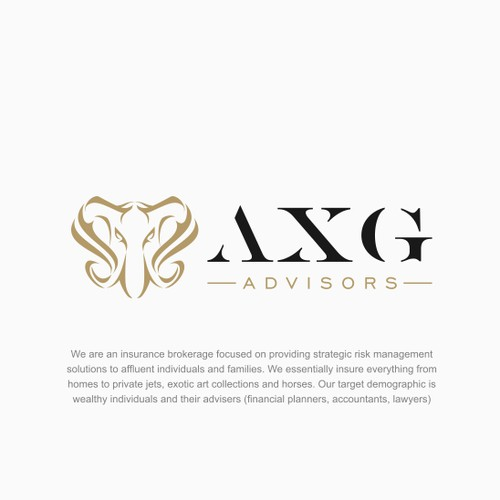 Abstract elegant elephat design for AXG advisors