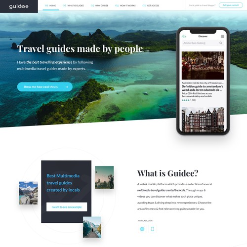Landing page for travel firm