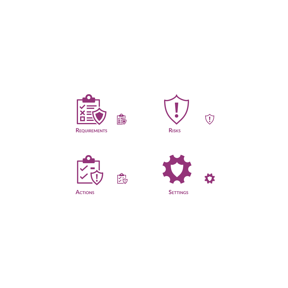 Icons for a B2B web application representing data types