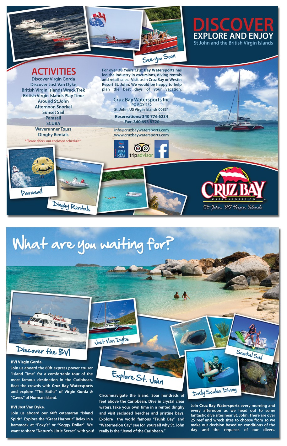 New brochure design wanted for Cruz Bay Watersports