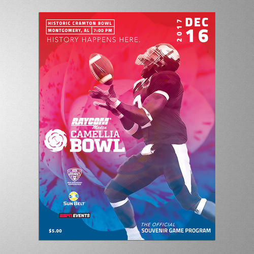 Red & Blue Football Bowl Program Cover