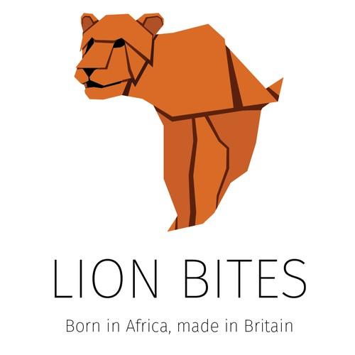 logo for new african snacks, lion bites