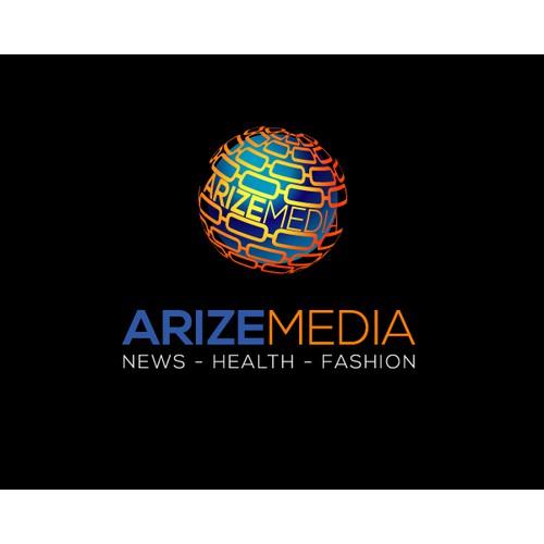 Create an Inspiring, adaptive, versatile logo for Arize Media/Arize News/Arize Health/Arize Fashion
