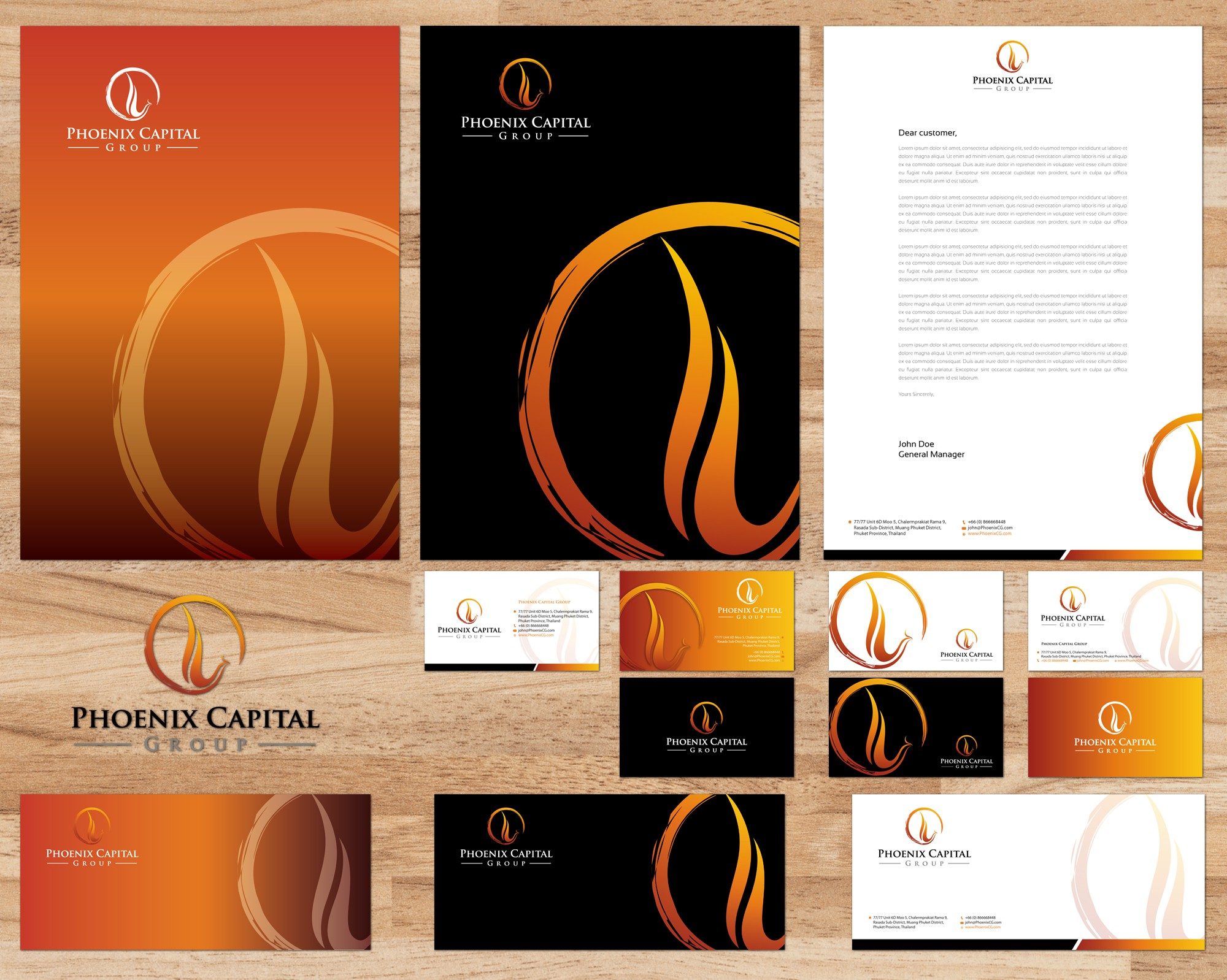 Create the next stationery for Phoenix Capital Group
