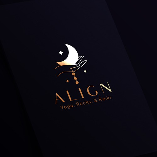 A spiritually oriented elegant and mystical logo design concept for a place which offers yoga classes, sound healing, reiki & therapeutic massage in addition to a metaphysical shop