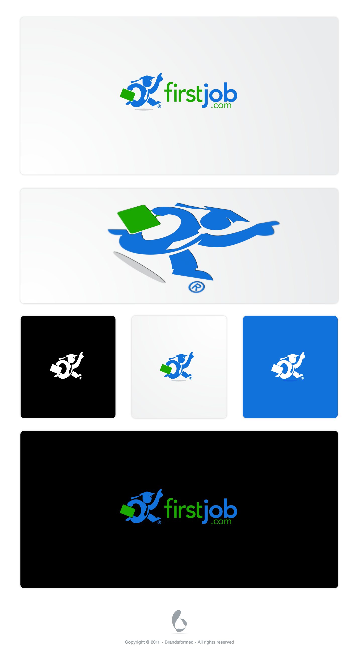clean, simple, modern logo for firstjob.com